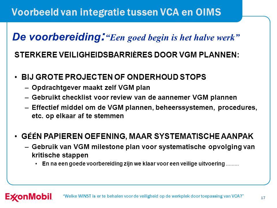 Voorbeeld van integratie tussen VCA en OIMS