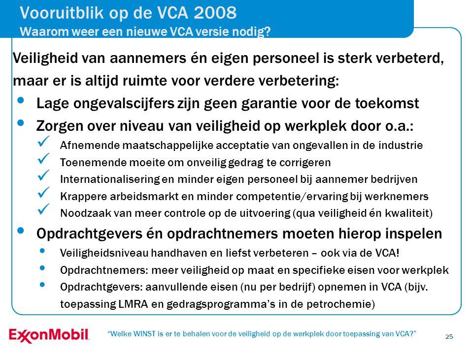 Vooruitblik op de VCA 2008 Waarom weer een nieuwe VCA versie nodig
