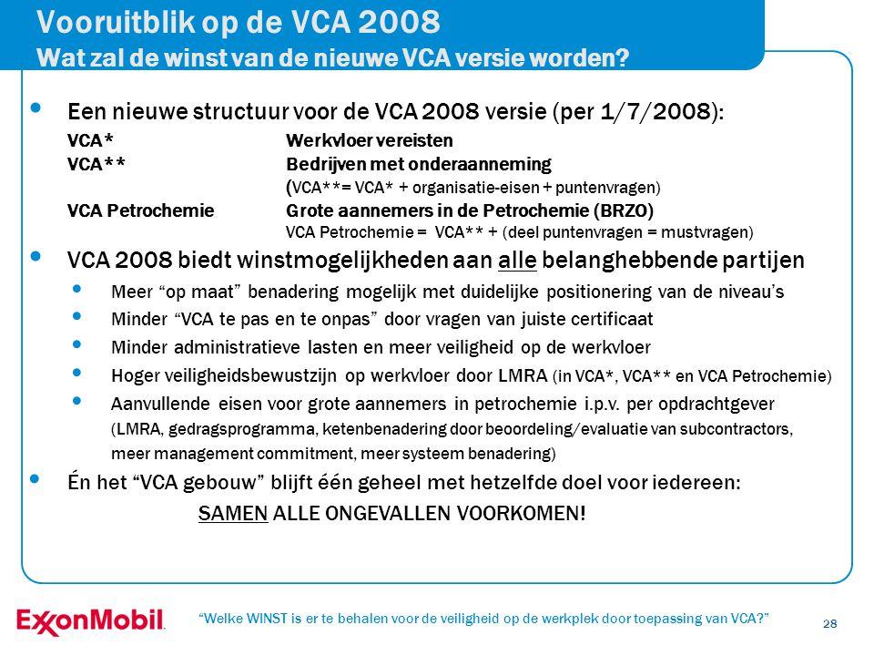 Vooruitblik op de VCA 2008 Wat zal de winst van de nieuwe VCA versie worden