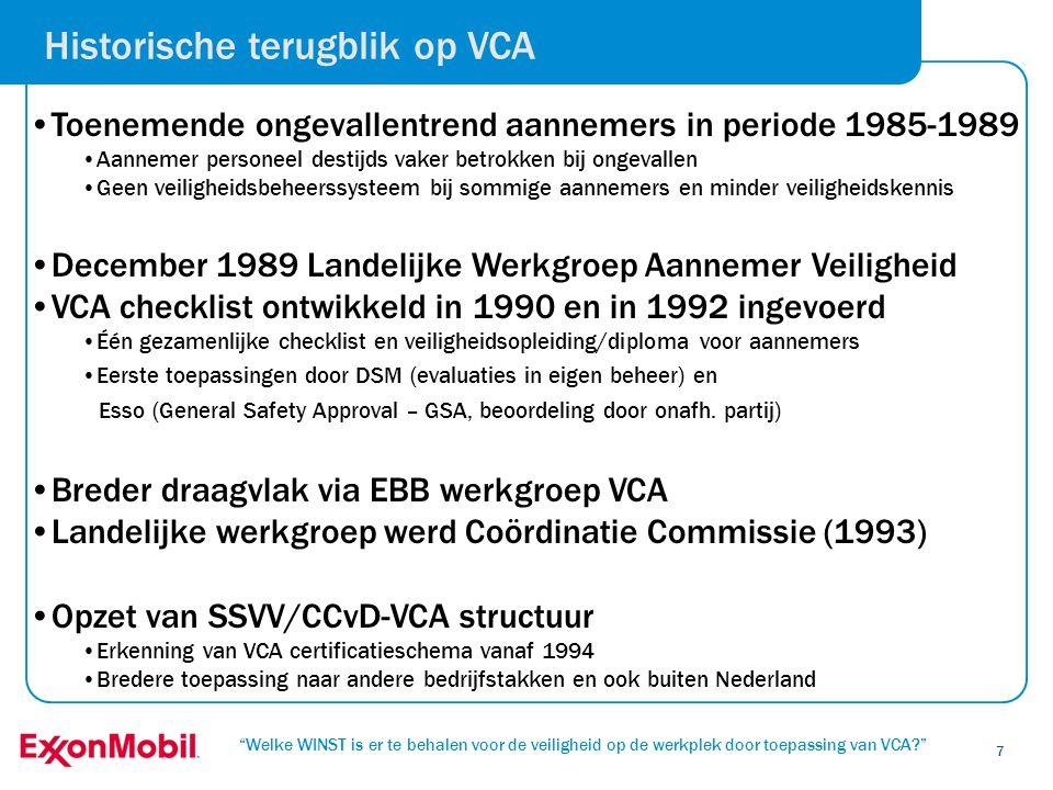 Historische terugblik op VCA