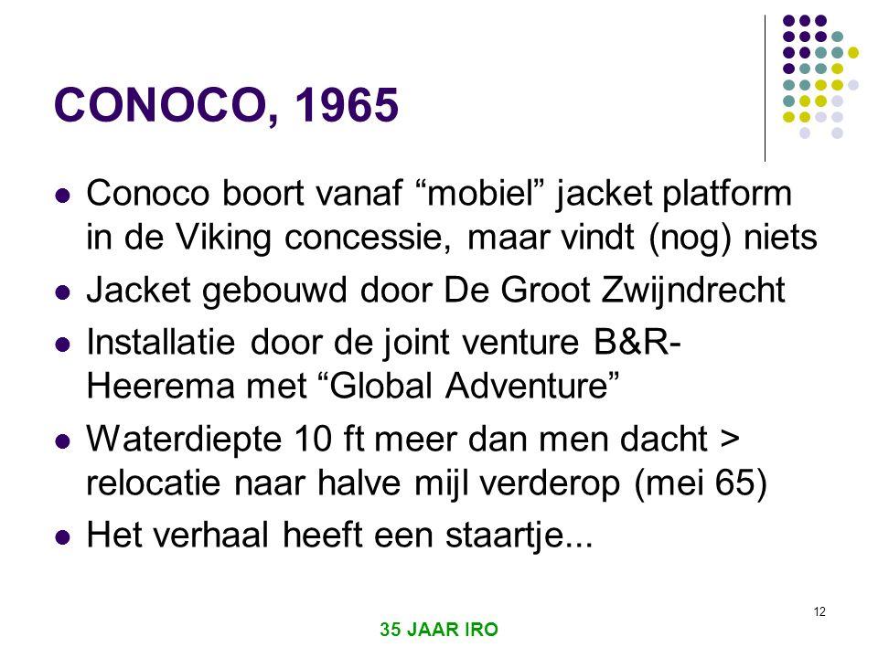 CONOCO, 1965 Conoco boort vanaf mobiel jacket platform in de Viking concessie, maar vindt (nog) niets.