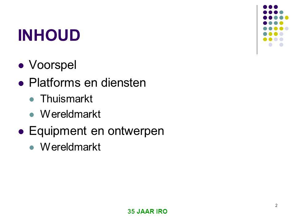 INHOUD Voorspel Platforms en diensten Equipment en ontwerpen