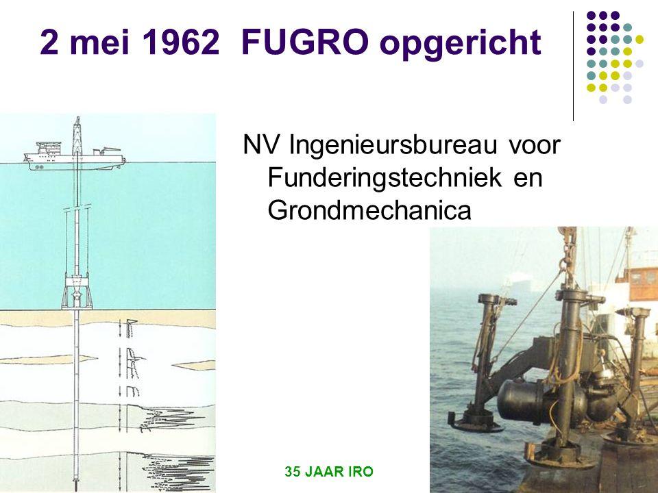 2 mei 1962 FUGRO opgericht NV Ingenieursbureau voor Funderingstechniek en Grondmechanica.