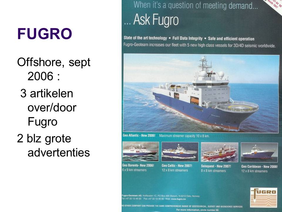 FUGRO Offshore, sept 2006 : 3 artikelen over/door Fugro