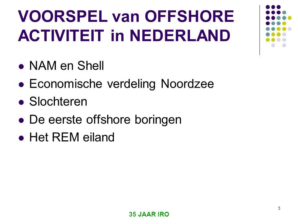 VOORSPEL van OFFSHORE ACTIVITEIT in NEDERLAND