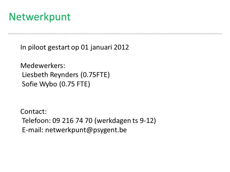 Netwerkpunt In piloot gestart op 01 januari 2012 Medewerkers: