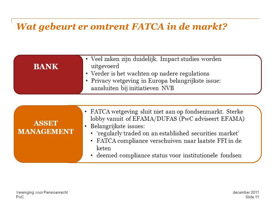 Wat gebeurt er omtrent FATCA in de markt