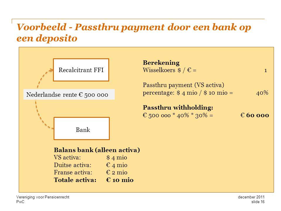 Voorbeeld - Passthru payment door een bank op een deposito