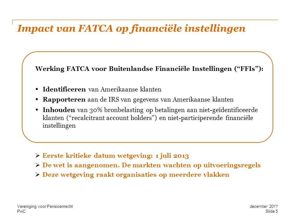 Impact van FATCA op financiële instellingen