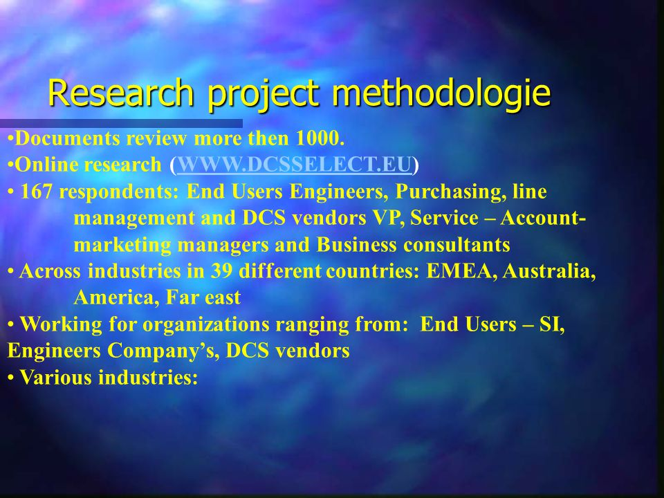 Research project methodologie