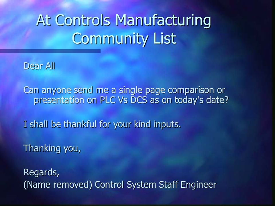 At Controls Manufacturing Community List