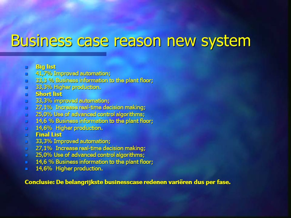 Business case reason new system