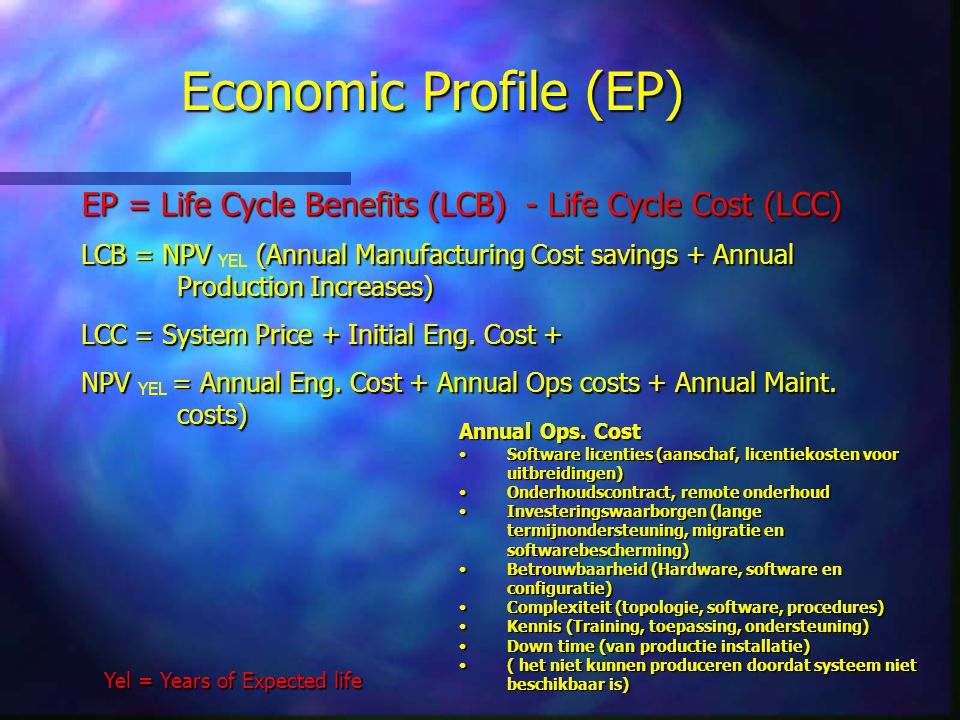 Economic Profile (EP) EP = Life Cycle Benefits (LCB) - Life Cycle Cost (LCC)