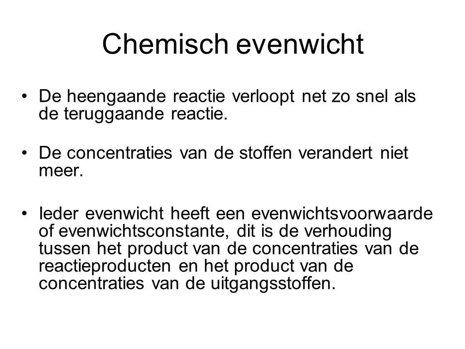 Chemisch evenwicht De heengaande reactie verloopt net zo snel als de teruggaande reactie. De concentraties van de stoffen verandert niet meer.