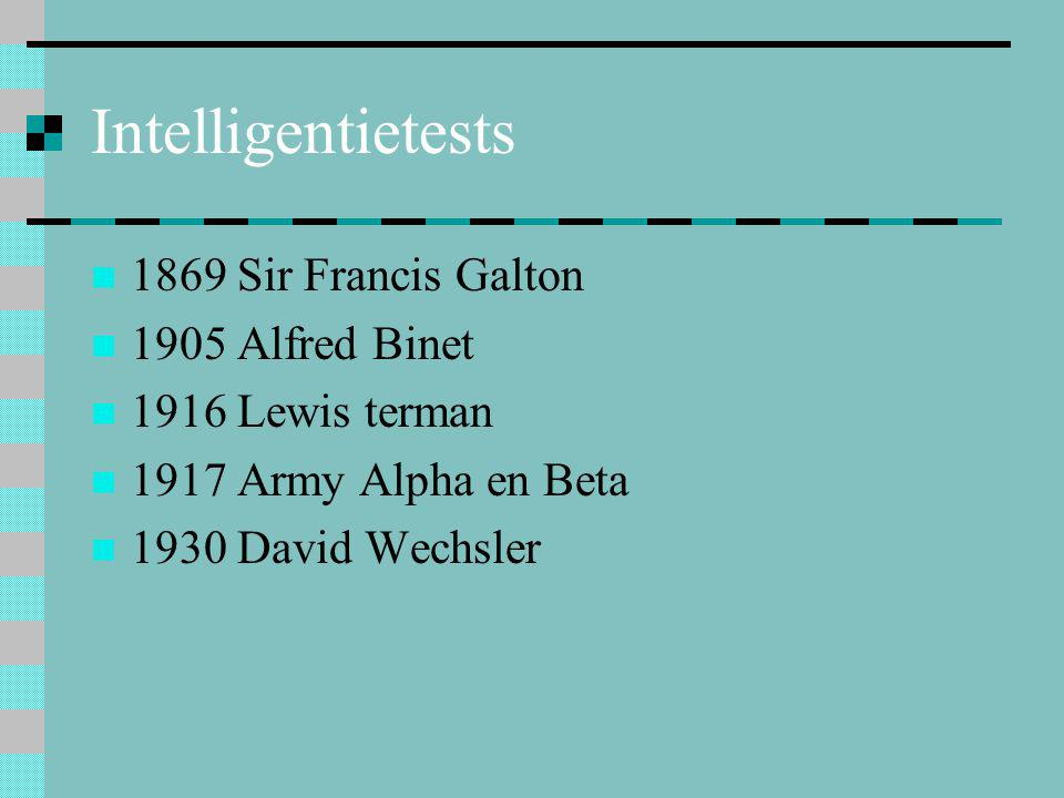 Intelligentietests 1869 Sir Francis Galton 1905 Alfred Binet