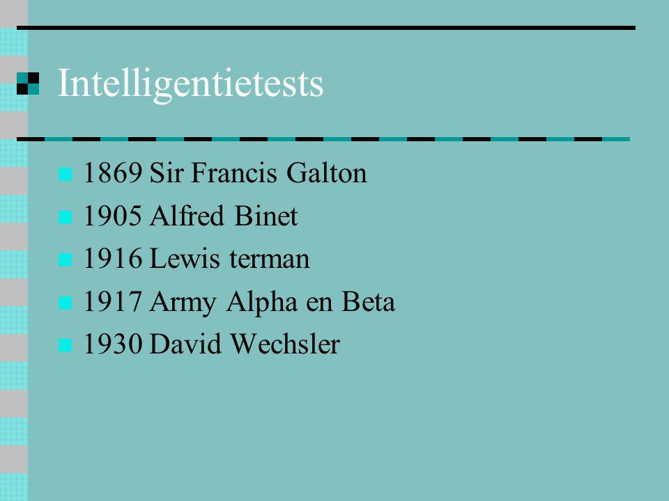 Intelligentietests 1869 Sir Francis Galton 1905 Alfred Binet