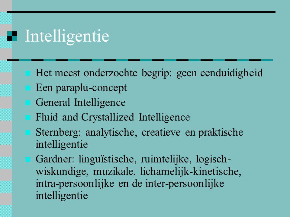 Intelligentie Het meest onderzochte begrip: geen eenduidigheid