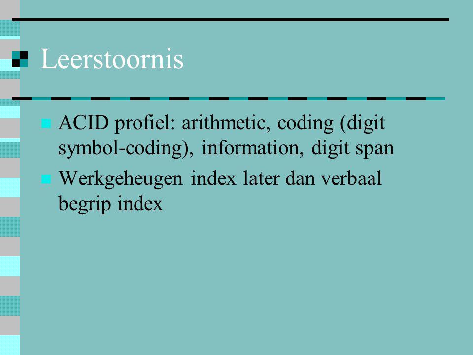Leerstoornis ACID profiel: arithmetic, coding (digit symbol-coding), information, digit span.
