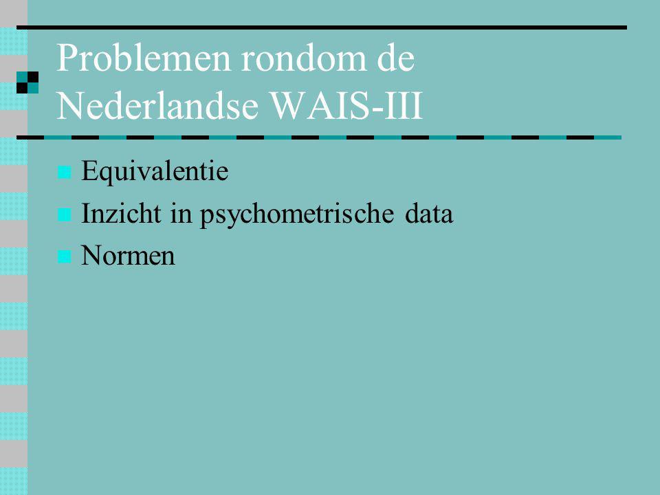 Problemen rondom de Nederlandse WAIS-III
