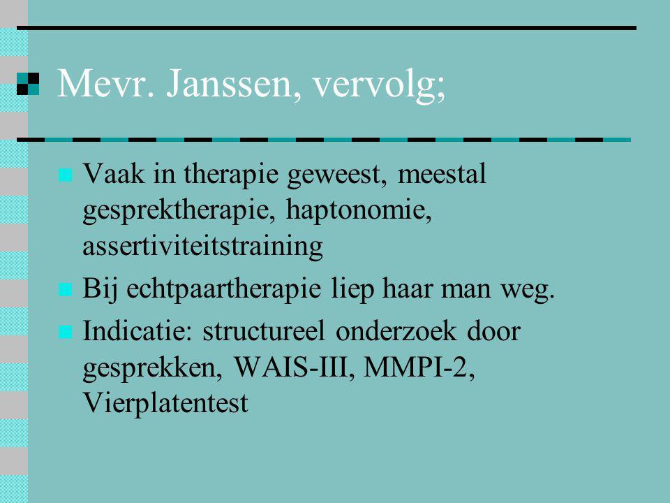 Mevr. Janssen, vervolg; Vaak in therapie geweest, meestal gesprektherapie, haptonomie, assertiviteitstraining.
