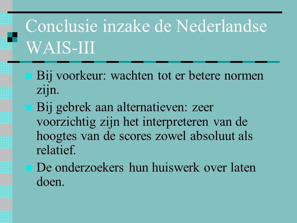 Conclusie inzake de Nederlandse WAIS-III