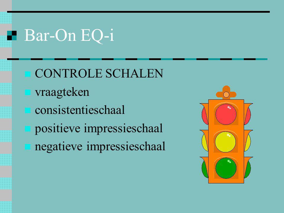 Bar-On EQ-i CONTROLE SCHALEN vraagteken consistentieschaal