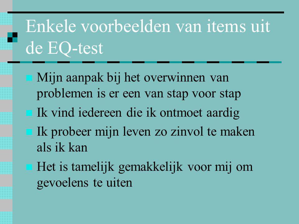 Enkele voorbeelden van items uit de EQ-test