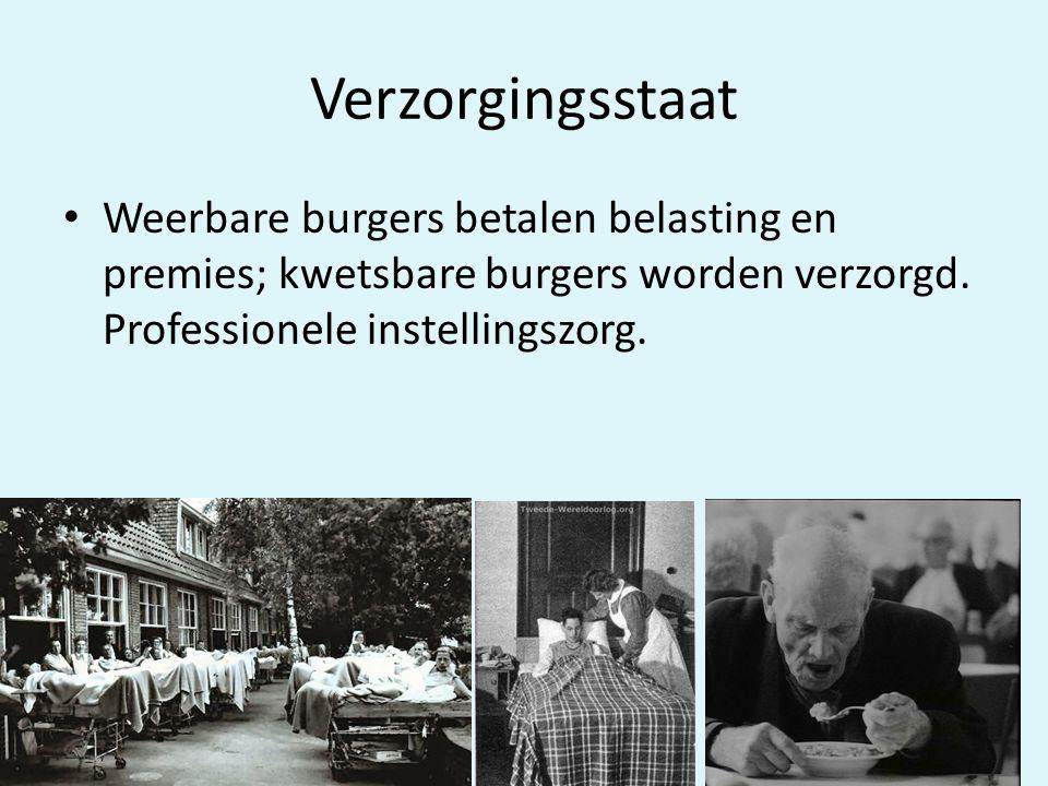 Verzorgingsstaat Weerbare burgers betalen belasting en premies; kwetsbare burgers worden verzorgd.