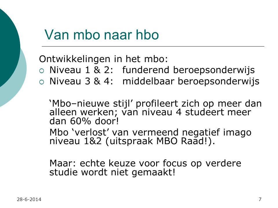 Van mbo naar hbo Ontwikkelingen in het mbo: