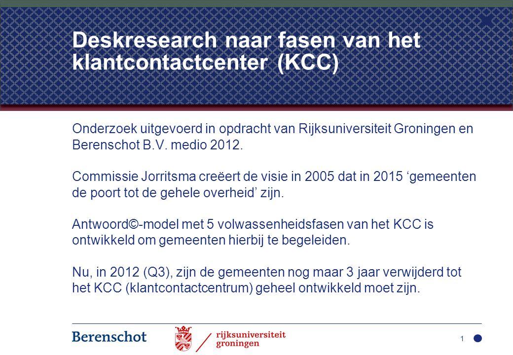 Deskresearch naar fasen van het klantcontactcenter (KCC)