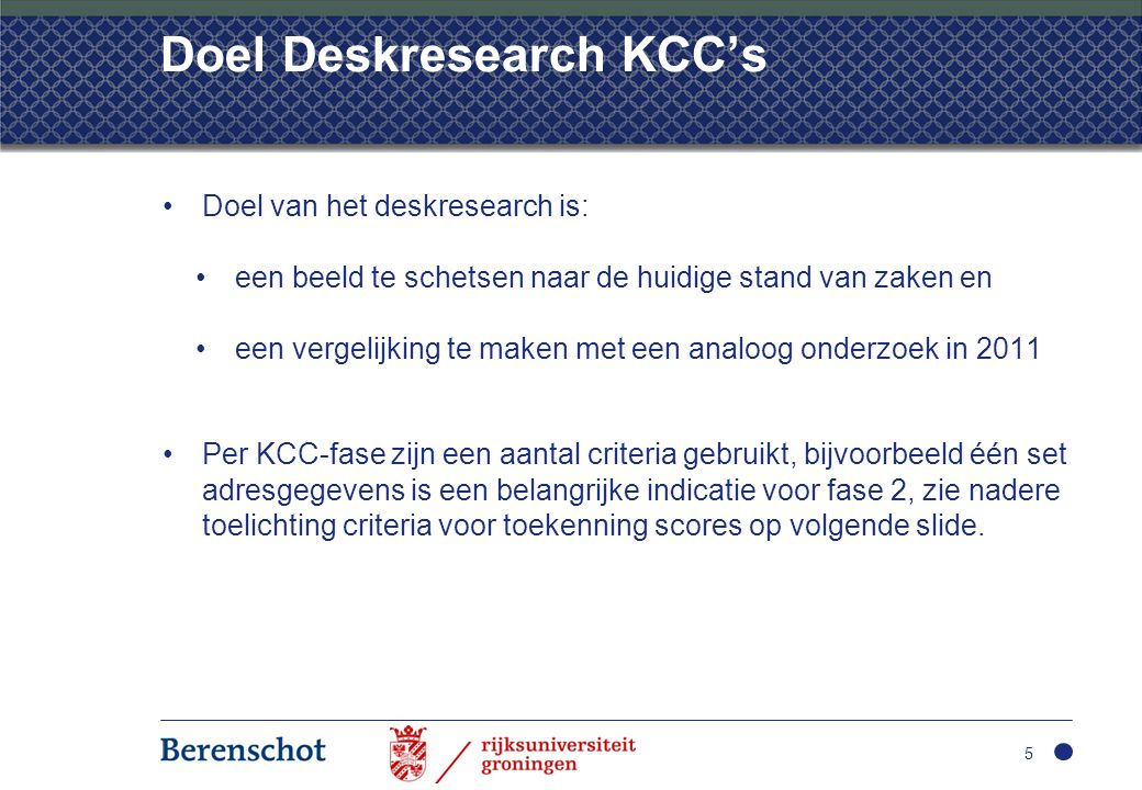 Doel Deskresearch KCC's