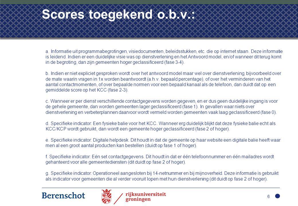 Scores toegekend o.b.v.: