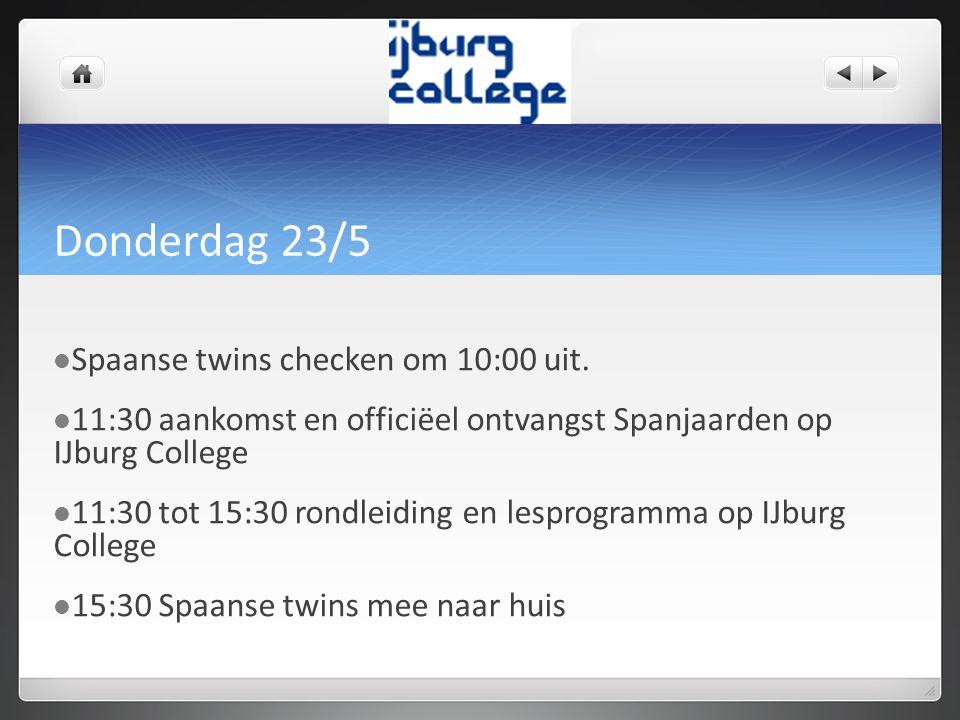 Donderdag 23/5 Spaanse twins checken om 10:00 uit.