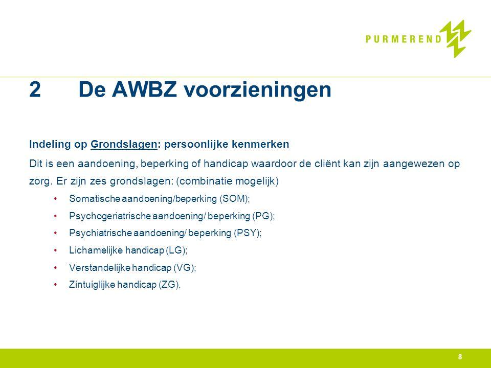 2 De AWBZ voorzieningen Indeling op Grondslagen: persoonlijke kenmerken.