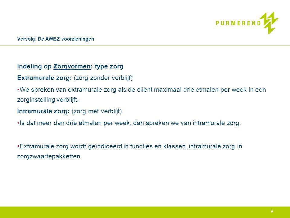 Vervolg: De AWBZ voorzieningen