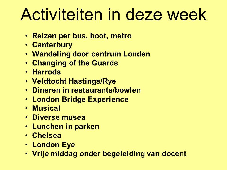 Activiteiten in deze week