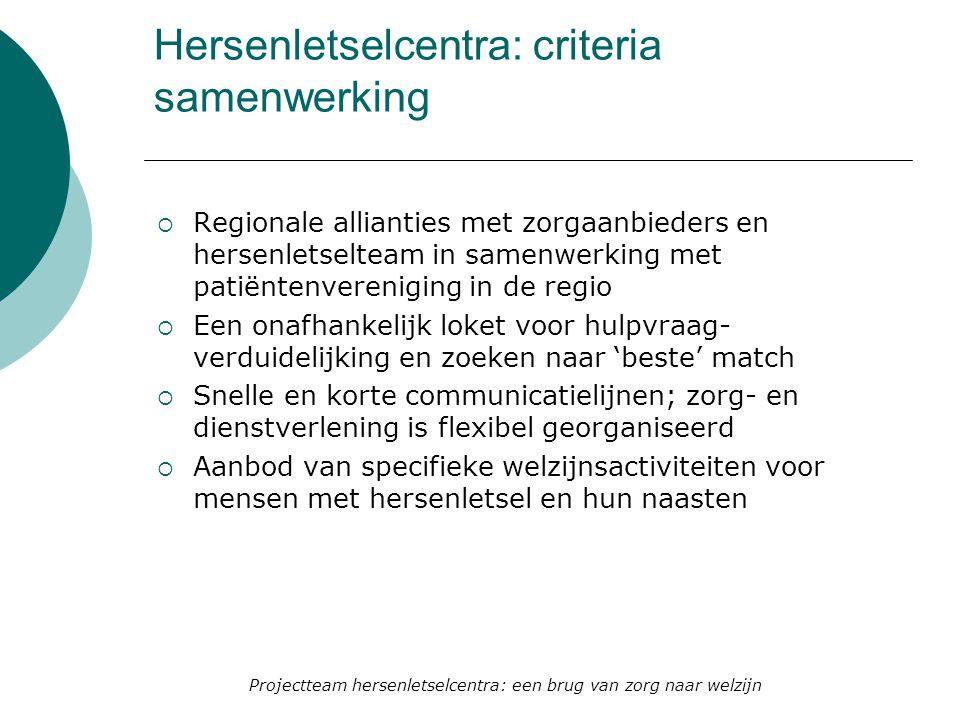Hersenletselcentra: criteria samenwerking