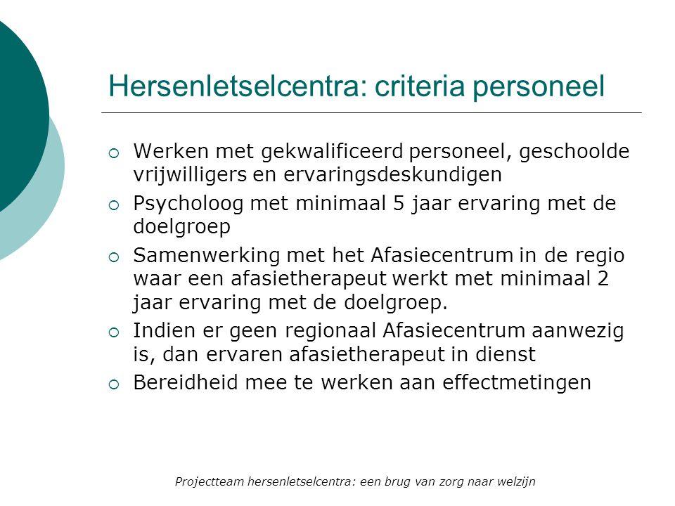 Hersenletselcentra: criteria personeel