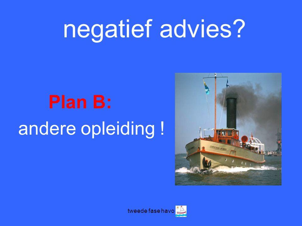 negatief advies Plan B: andere opleiding ! tweede fase havo