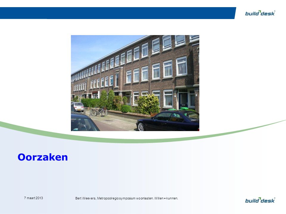 Oorzaken 7 maart 2013 Bert Weevers, Metropoolregio symposium woonlasten. Willen = kunnen.