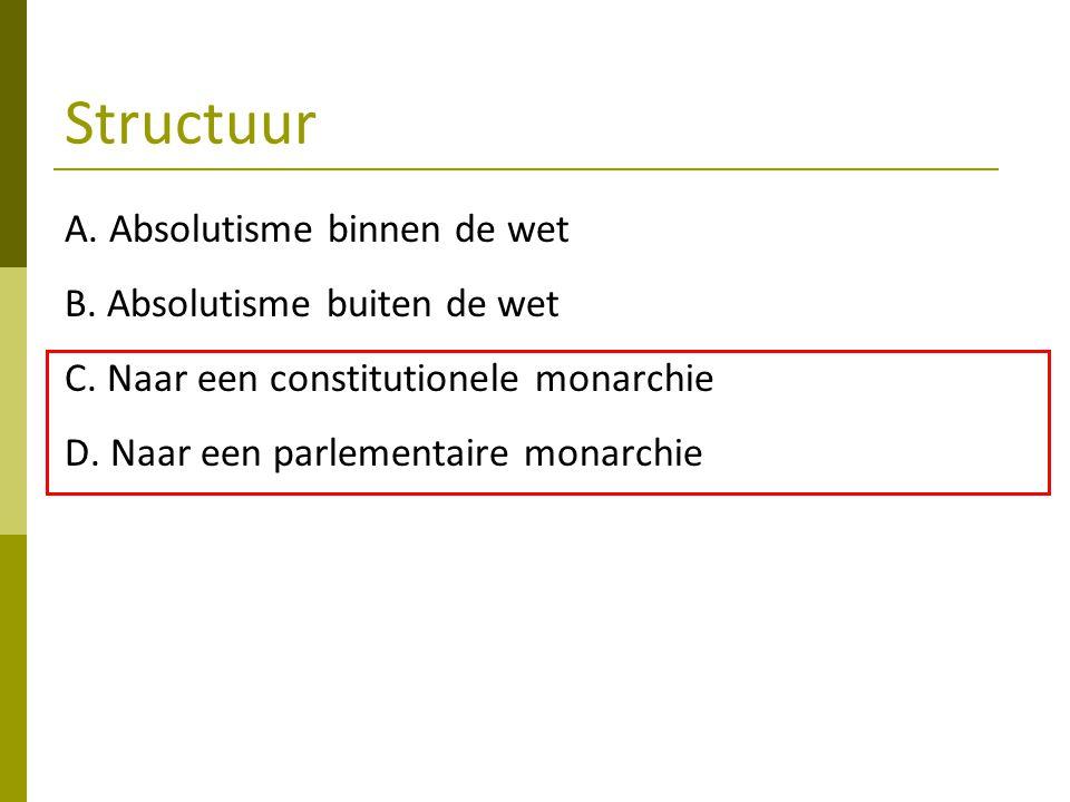 Structuur A. Absolutisme binnen de wet B. Absolutisme buiten de wet