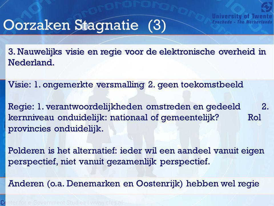 Oorzaken Stagnatie (3) 3. Nauwelijks visie en regie voor de elektronische overheid in Nederland.