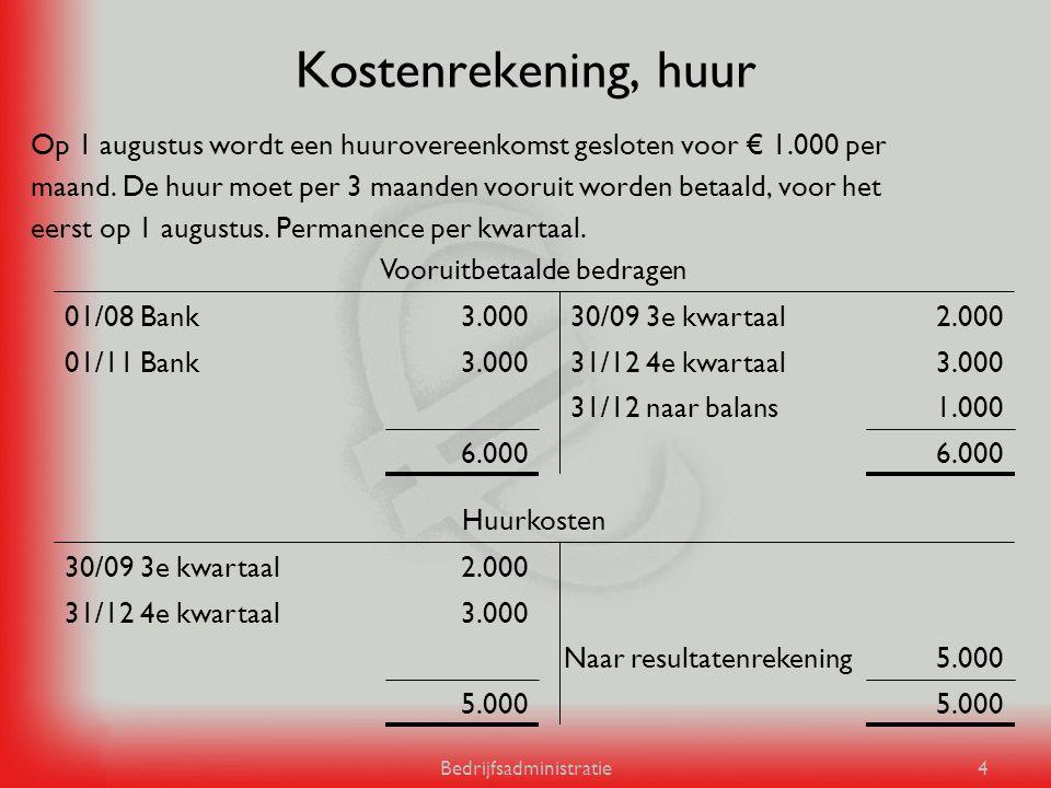 Kostenrekening, huur Op 1 augustus wordt een huurovereenkomst gesloten voor € 1.000 per.