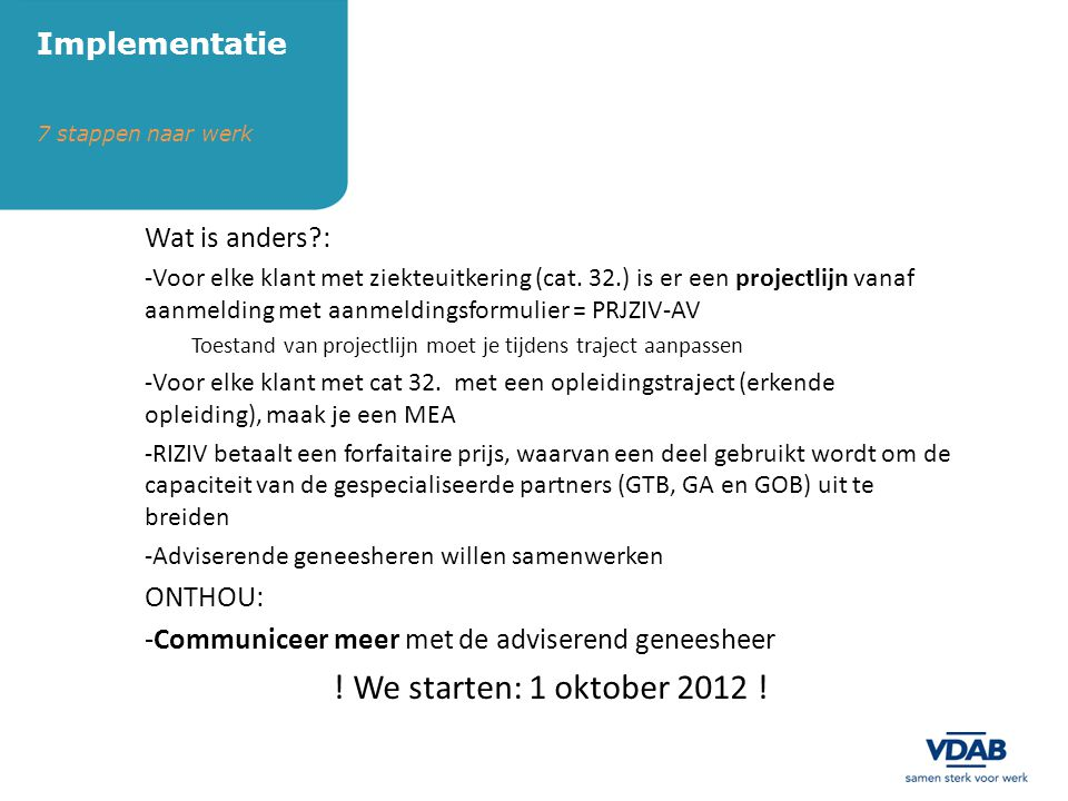 ! We starten: 1 oktober 2012 ! Implementatie Wat is anders : ONTHOU: