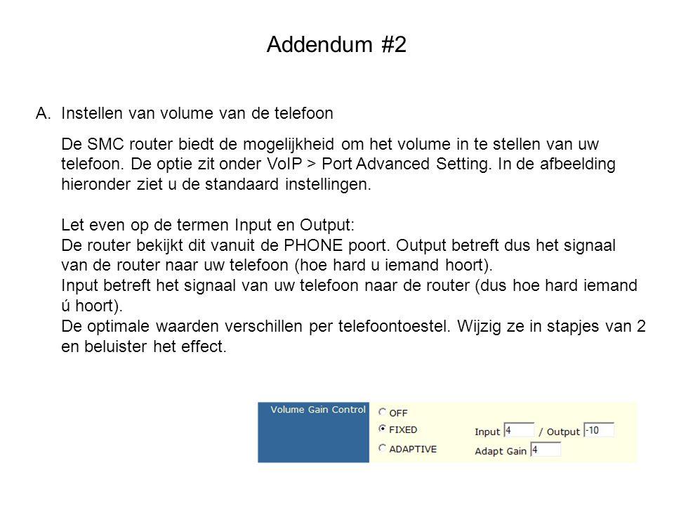 Addendum #2 Instellen van volume van de telefoon