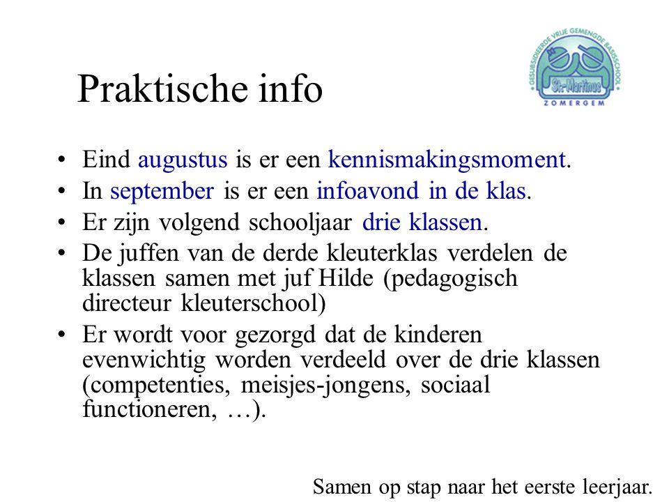 Praktische info Eind augustus is er een kennismakingsmoment.