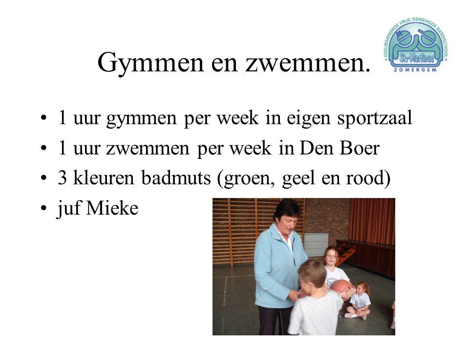 Gymmen en zwemmen. 1 uur gymmen per week in eigen sportzaal
