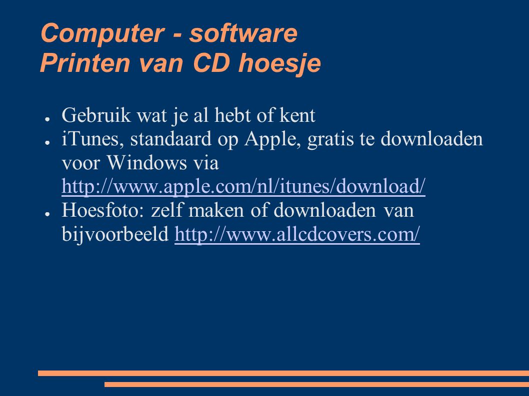 Computer - software Printen van CD hoesje