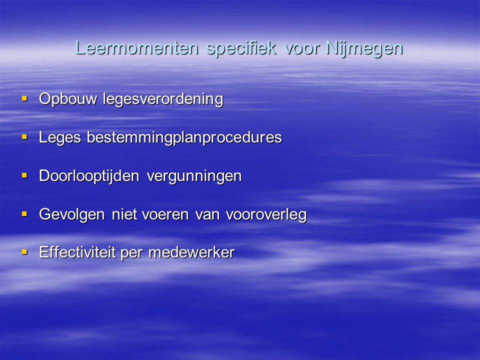 Leermomenten specifiek voor Nijmegen