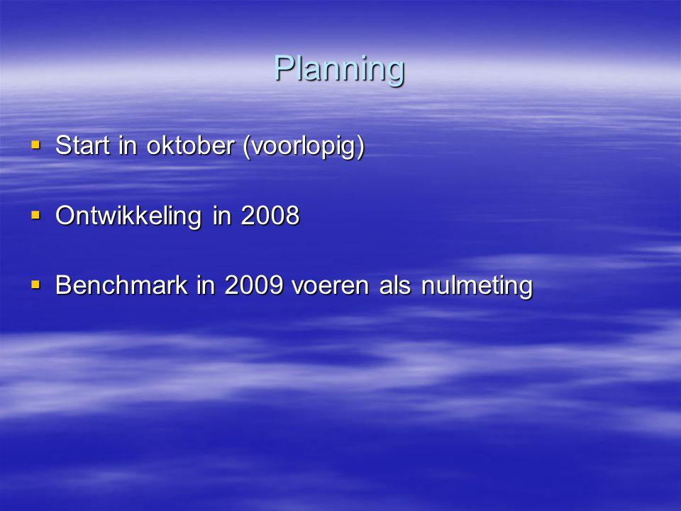Planning Start in oktober (voorlopig) Ontwikkeling in 2008